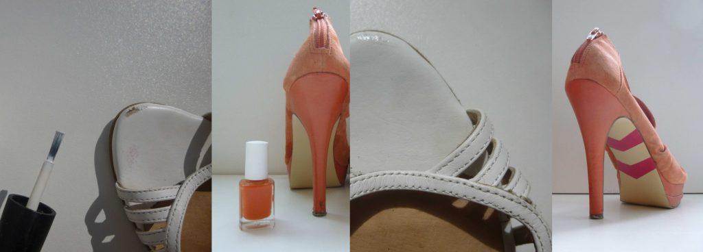 chaussure réparée allonger durée de vie vernis à ongle détournement d'usage, upcycling, slow fashion, ethical fashion, long lasting